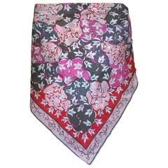 Emilio Pucci Pink and Red Floral Cotton Scarf