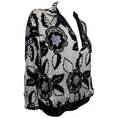 Galanos Vintage  Silk jacquard Beaded bomber jacket
