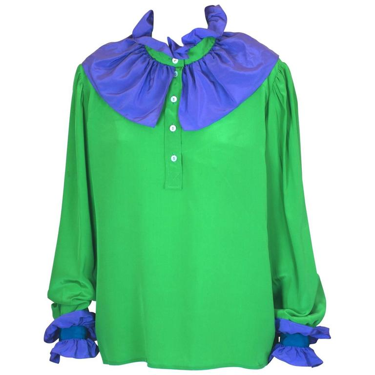"Yves Saint Laurent ""Russian Collection"" Ruffled Silk Crepe Blouse"