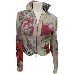 Roberto Cavalli  Rare printed  biker  jacket with zippers