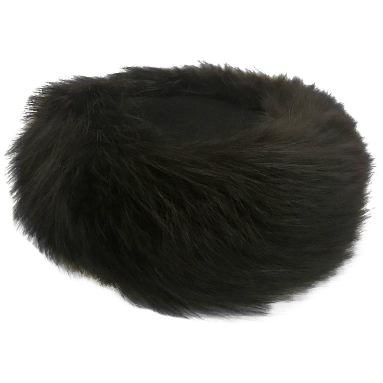 Joseph Magnin Black Fox Fur Felt Pill Box Hat, 1960s