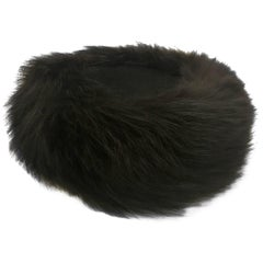 Joseph Magnin Black Fox Fur Felt Pill Box Hat, 1960s