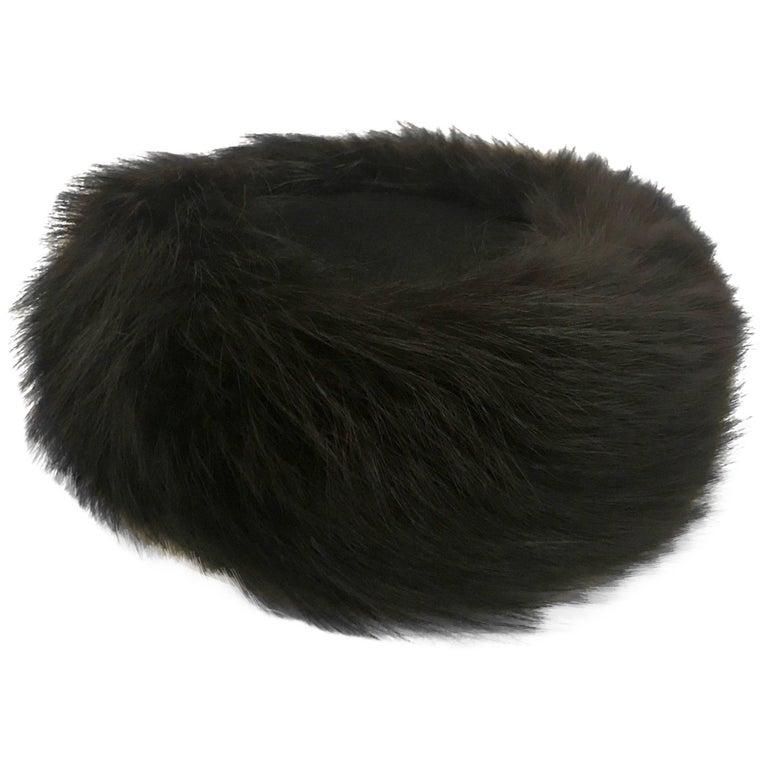 Joseph Magnin Black Fox Fur Felt Pill Box Hat, 1960s  For Sale
