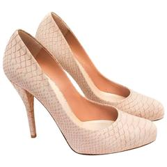 Christian Dior Nude Pink Snakeskin Effect Suede Pumps