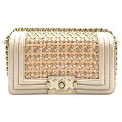 Chanel Boy Champagne Gold Calfskin Leather Chain Shoulder Bag