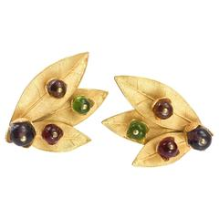 1980's Dominique Aurientis Gilt 'Leaf' Earrings With Colourful Resin Beads
