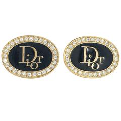 1980's Dior Rhinestone and Black Enamel Gilt Insignia Cufflinks