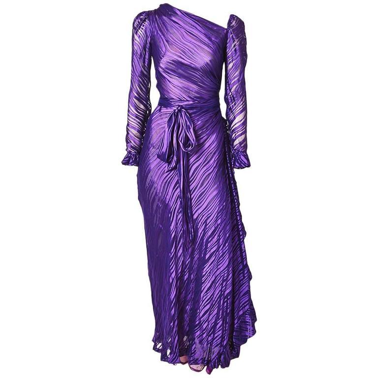 Yves Saint Laurent Chiffon Bias Cut Gown For Sale