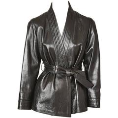 Yves Saint Laurent Chinese Collection Leather Belted Jacket