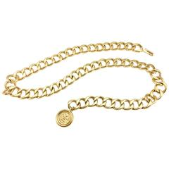 1980's Chanel Gold-Tone Medallion Chain Belt / Necklace