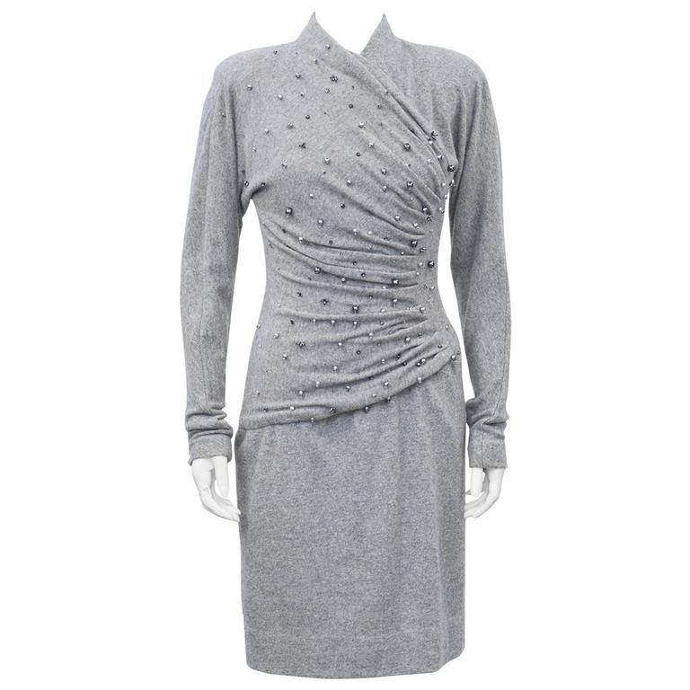 1980s Carolyne Roehm Grey Cashmere Dress