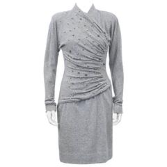 1980s Carolyne Roehm Grey Cashmere Dress