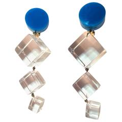 Dramatic 21st Century Judith Hendler Acrylic Statement Drop Clip on Earrings
