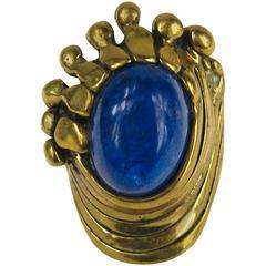 Vintage Brutalist Mid Century Lapis Ring PAL KEPENYES