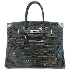 Hermes Crocodile 35 Birkin Grey Elephant Bag