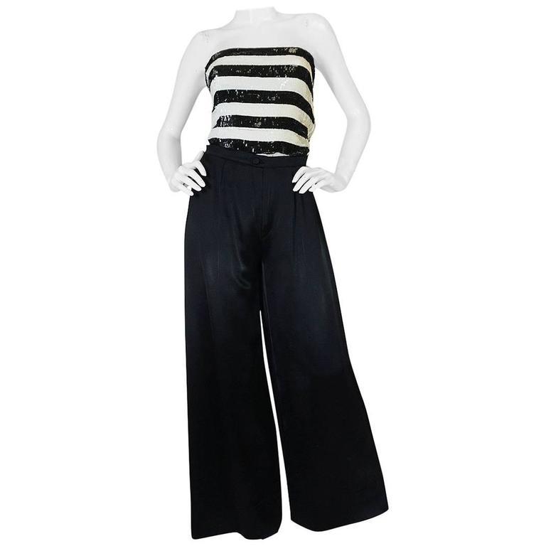 c1966 Yves Saint Laurent Sequin Stripe Top & Satin Pant 1