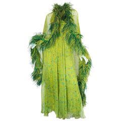 1970s Unlabelled Silk Chiffon Halter Dress & Feather Cape
