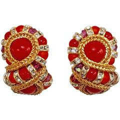 "Francoise Montague Red ""Huit"" Clip Earrings"