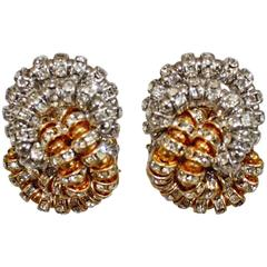 Francoise Montague Gold and Silver Baghera Clip Earrings