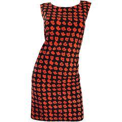 1990s Agnes B Size 38 Poppy Flower 3 - D Print Red and Black Vintage 90s Dress