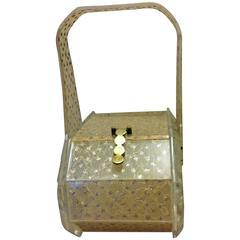 Interesting Octagonal Design Gold Lace And Carved Lucite Handbag