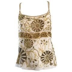 Plus Size Vintage Emanuel Ungaro 1990s Beige + Gold Silk Chiffon 90s Beaded Top