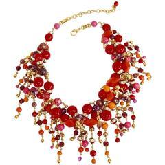 Francoise Montague Red, Orange, and Fuchsia Fringe Necklace