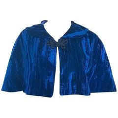 Beautiful 1930s Navy Blue Silk Velvet Vintage 30s Cropped Cape Capelet Bolero