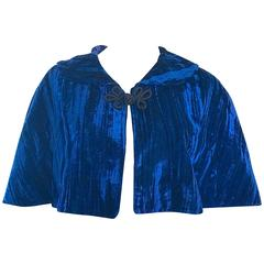 Beautiful 1930s Navy Blue Silk Velvet Vintage 30s Cropped Cape Capelet Bolero