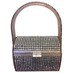 Stunning Wilardy Silver Lame Rhinestone Petite Lucite Handbag