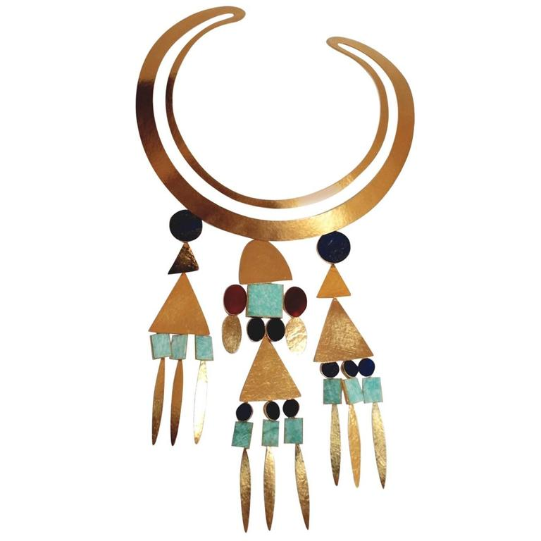 Herve van der Straeten Gilded Brass Triple Drop Torque Necklace For Sale