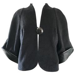 New Rubin Singer Black Cashmere + Wool + Leather Avant Garde Cropped Jacket