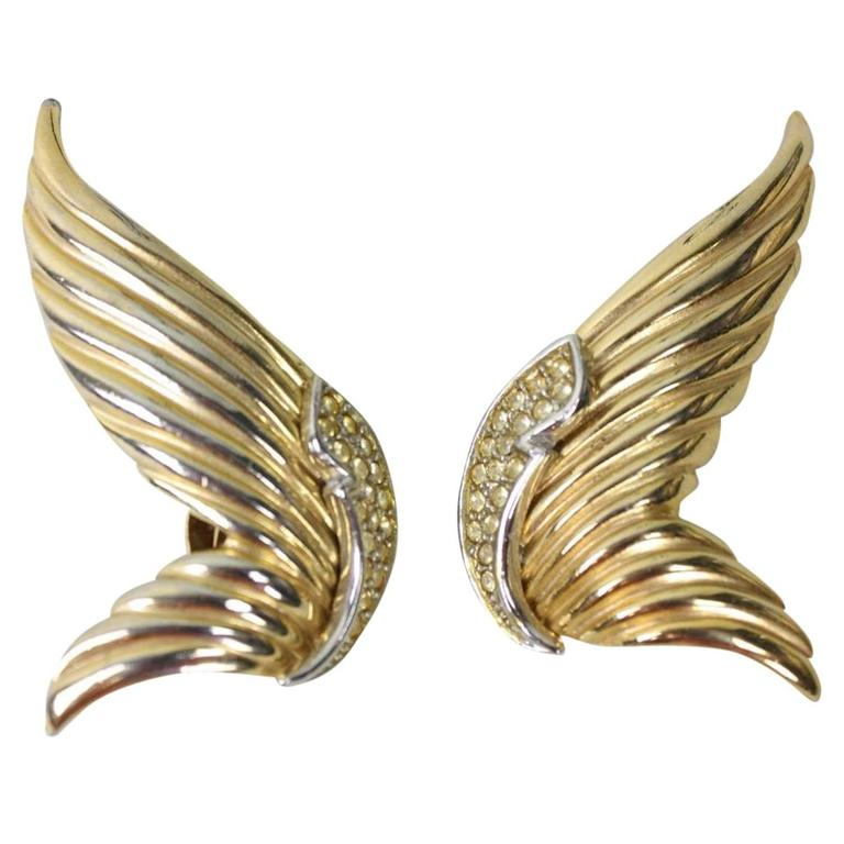 1980's Butler & Wilson Gold-Toned Wing Earrings 1