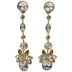 Valentino Long Dangle Rhinestone Earrings