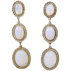 Butler & Wilson Rhinestone & Faux Opal Earrings
