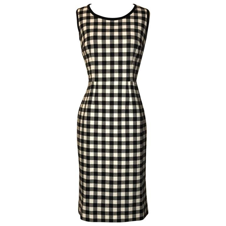 Dolce & Gabbana New with Tags Black and White Check Sleeveless Pencil Dress  For Sale