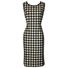 Dolce & Gabbana New with Tags Black and White Check Sleeveless Pencil Dress