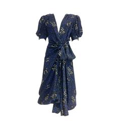 80s Yves saint laurent silk print wrap dress