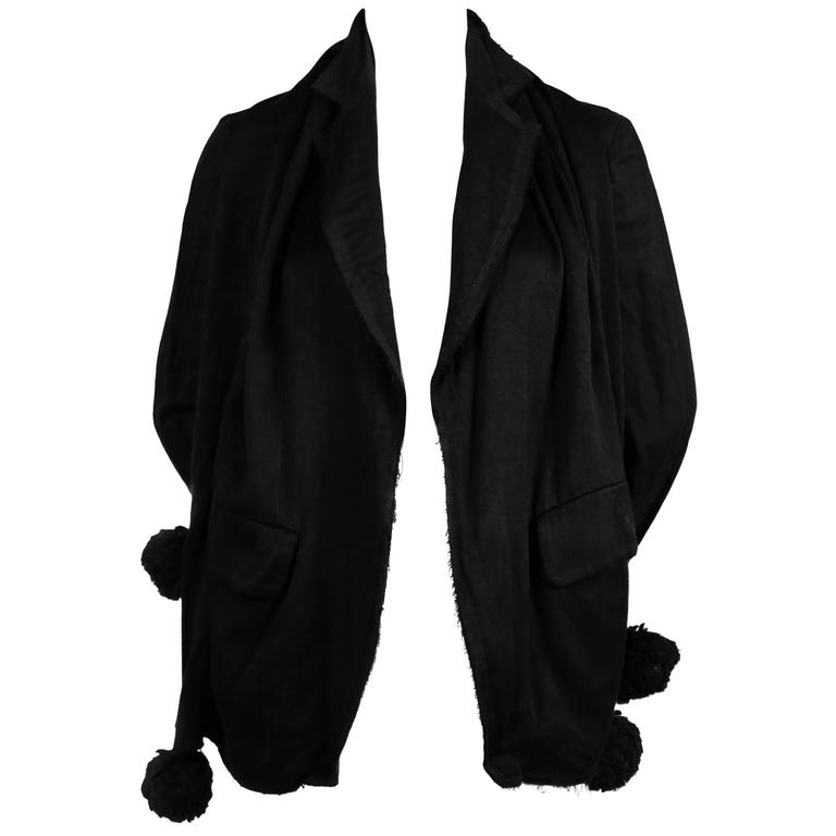 2003 COMME DES GARCONS black jacket with scarf overlay and pom pom details