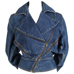 1985 AZZEDINE ALAIA denim jacket with zip closures