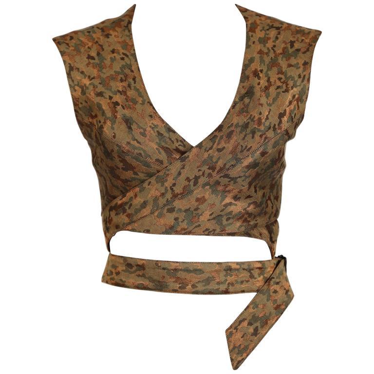 1990's AZZEDINE ALAIA camouflage wrap bustier top 1