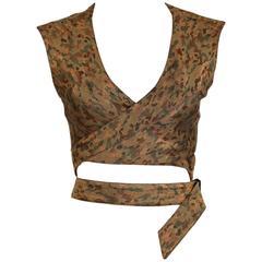 1990's AZZEDINE ALAIA camouflage wrap bustier top