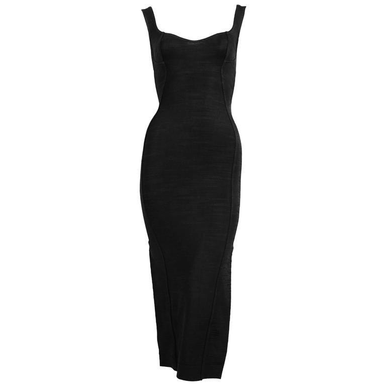 Azzedine Alaia long black dress with bustier seams, 1990s