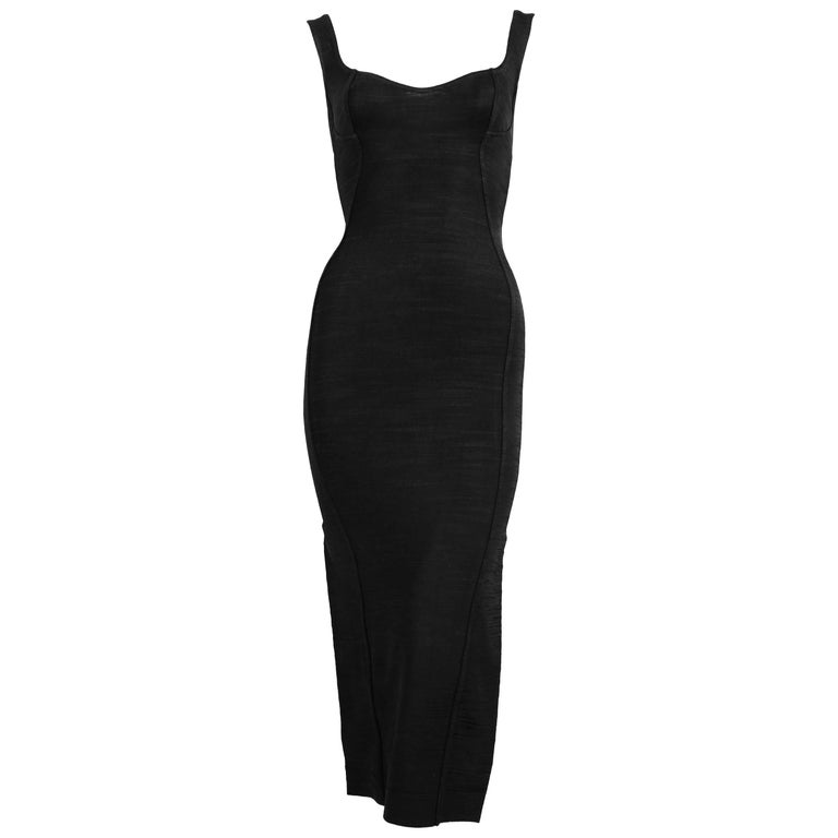 1991 Azzedine Alaia long black runway dress with bustier seams For Sale