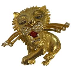 Vintage Gold and Rhinestone Lion Pin Brooch