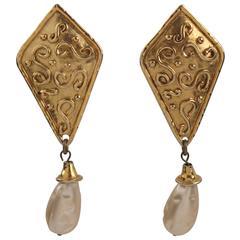 Edouard Rambaud Paris Signed Byzantine Pearl Dangle Clip on Earrings