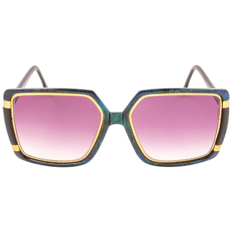 New Vintage Ted Lapidus Paris Marbled Blue Black & Gold 1970 Sunglasses