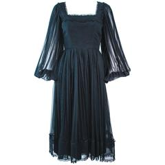 JEAN LOUIS Black Pleated Lace Dress with Sheer Sleeves Size 4 6