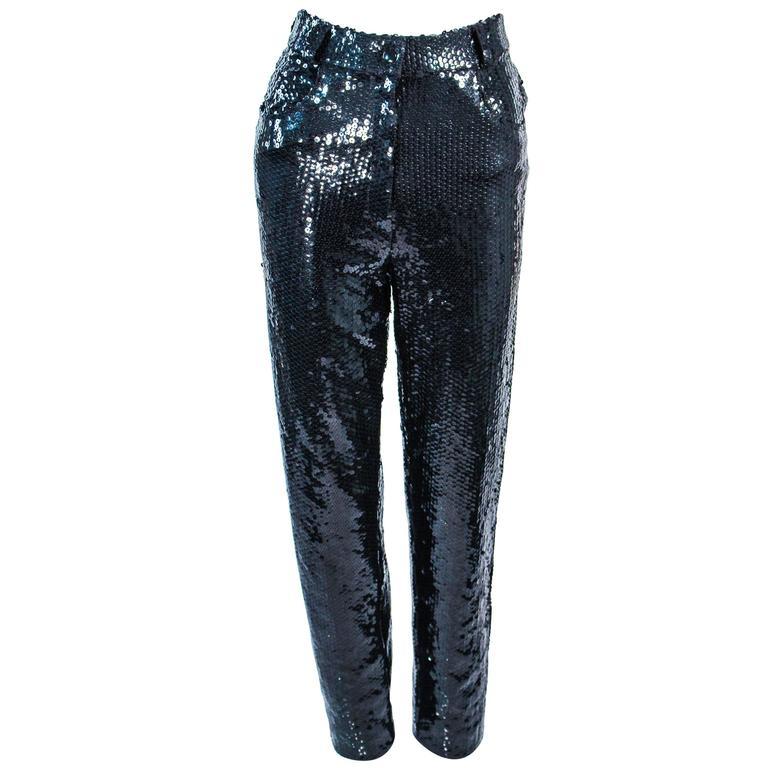 SUITE 101 Vintage Black Stretch High Waist Sequin Pants Size 8 10 For Sale