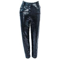 SUITE 101 Vintage Black Stretch High Waist Sequin Pants Size 8 10